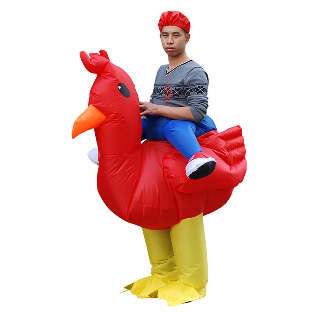Adults Chicken Inflatable Rooster Costume Halloween Carnival Cosplay Party Dress