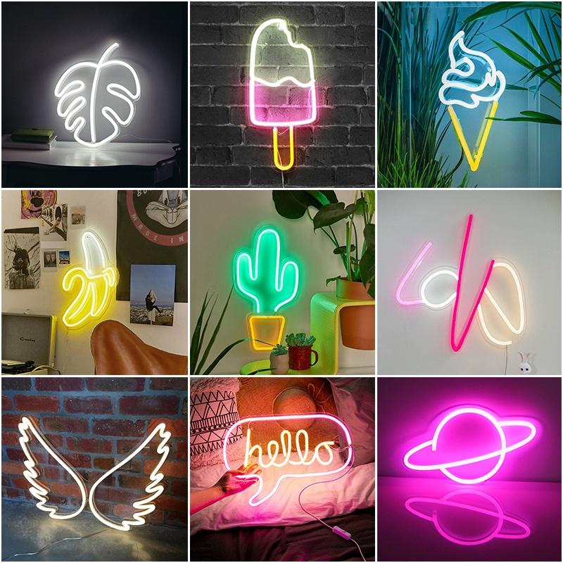 "13/""-18/""LED Neon Sign Night Lights with Acrylic Back Panel USB Neon Sign Wall Art"