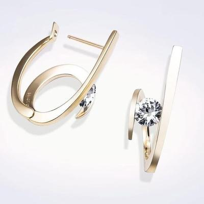 Unique Personality 925 Sterling Silver Irregular Curve Crystal Stud Earrings For Women Jewelry Accessories Buy At A Low Prices On Joom E Commerce Platform