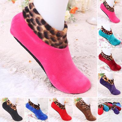 Women Autumn Brushed Thicken Bed Sock Leopard Print Floor Socks Slipper Elastic Fashion Winter