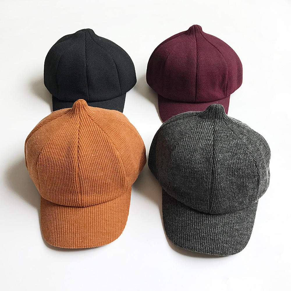 Fashion Baby Kids Toddler Dome Beret Woolen Cap Headwear Octagonal Hat Beret Cap