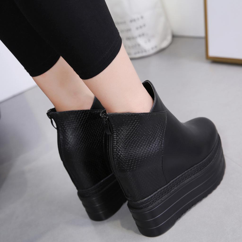 Female Platform Wedges Boots Black Autumn Ankle Boots For Women High Heels Ladies Leather Shoes Back