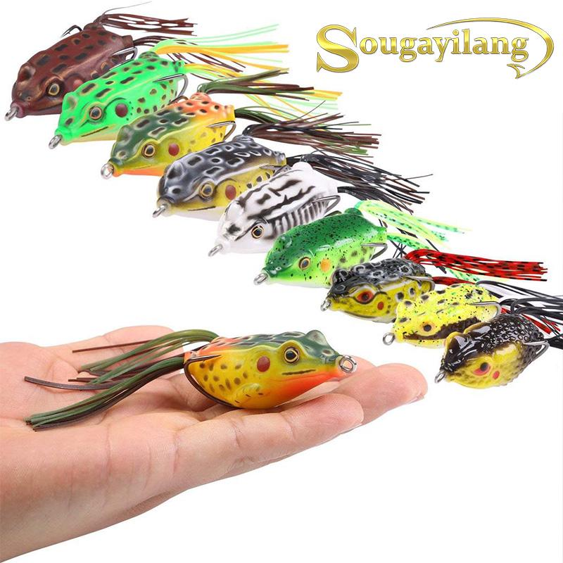 5PCS Lot 5.5cm//11g Frog Top Water Soft Fishing Lure Spoon Bait Floating Swimbait