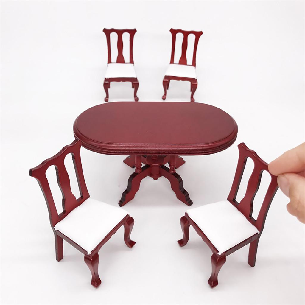 1//12 Wooden Kitchen Dining Table Chair Set Barbie Dollhouse Furniture Kid Toy