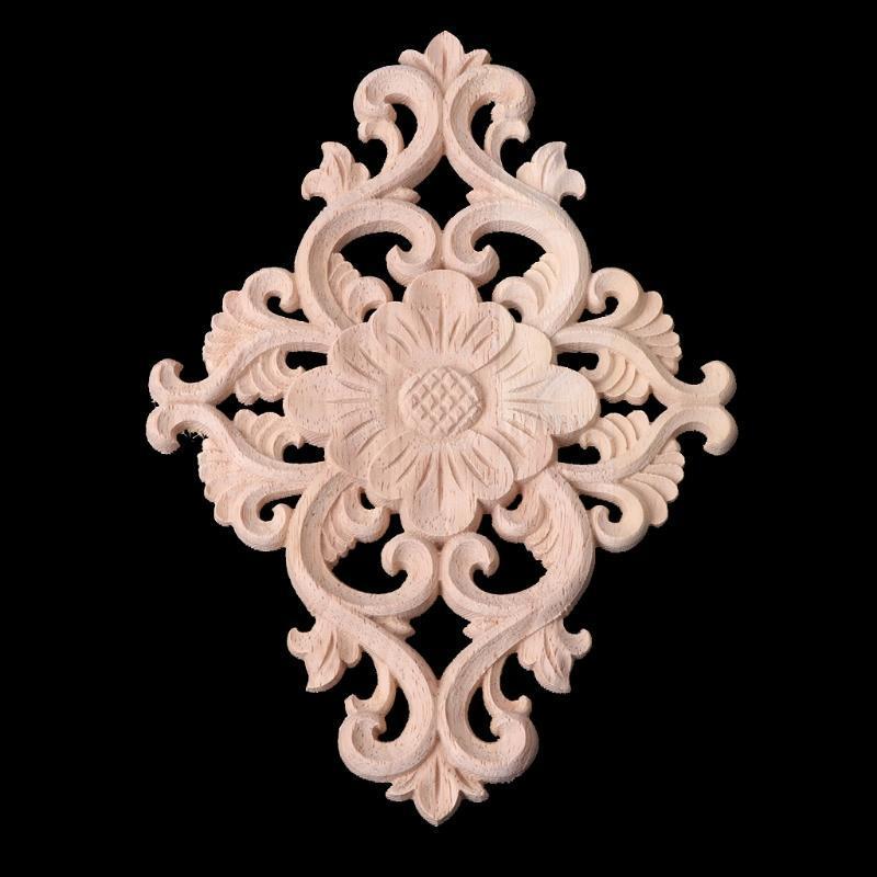 2pcs 20*5cm Tallado en madera Onlay largo Applique sin dibujos de flor rosa con el estilo europeo