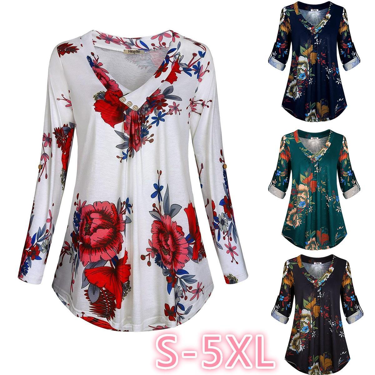 Womens Plus Размер V шеи блузка Дамы Длинные рукава случайные цветочные рубашки Топы Ти