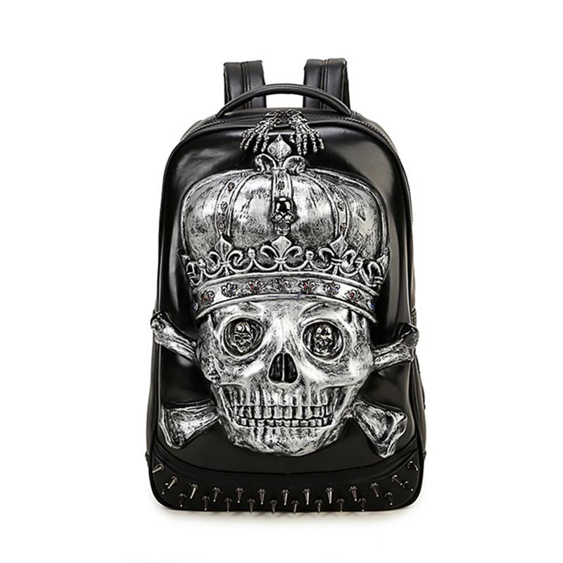 Leather With Brown Skulls And Bones Backpack Daypack Bag Women