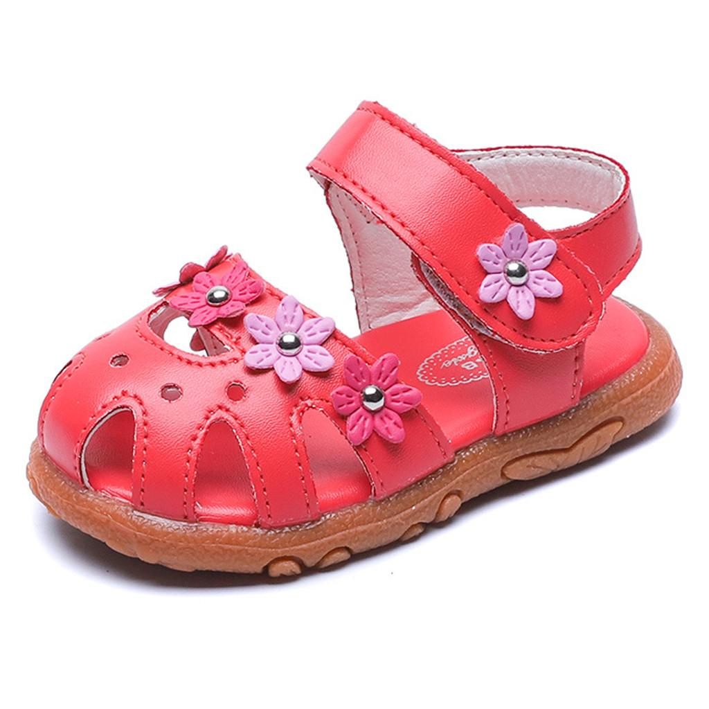 Toddler Kids Baby Girls Flower Leather Single Princess Party Shoes Sandals
