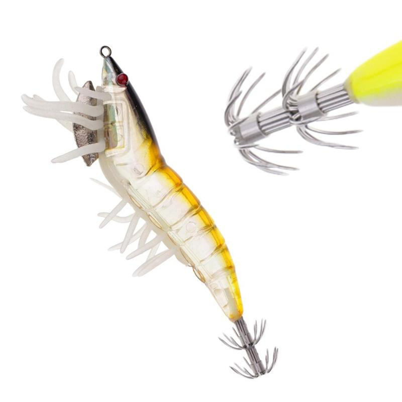 10pcs Luminous Soft Shrimp Hook Bait w// Skirt Prawn Lure Saltwater Fishing Lure