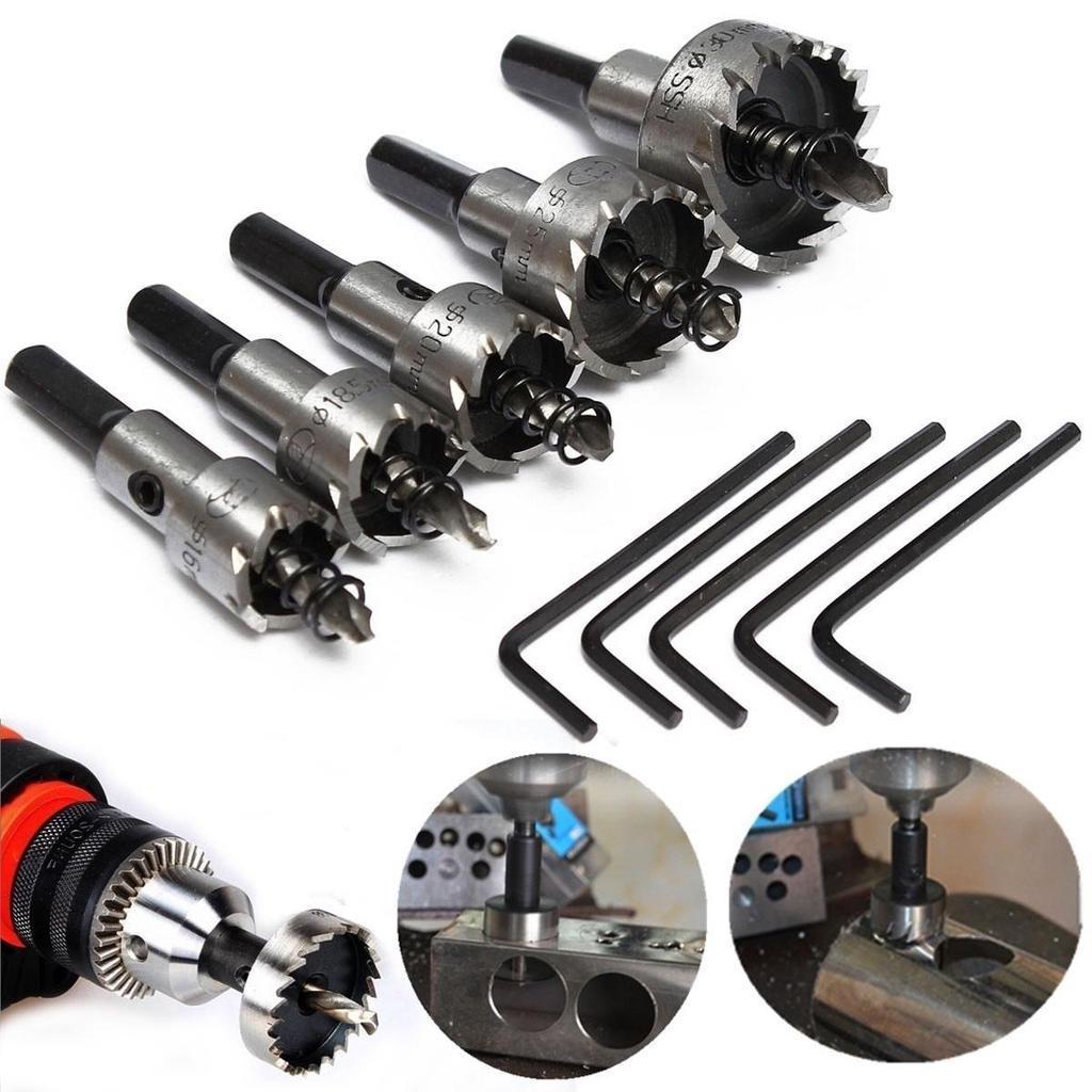 Carbide Tip HSS Drill Bit Saw Set Metal Wood Hole Cut Tool Kit 18.5mm