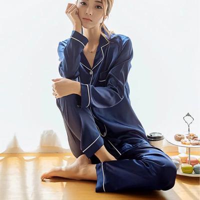 f188a05ff3576 Женщин пижамы шелкового атласа пижама длинный рукав пижамы костюм женский  сна два куска Loungewear