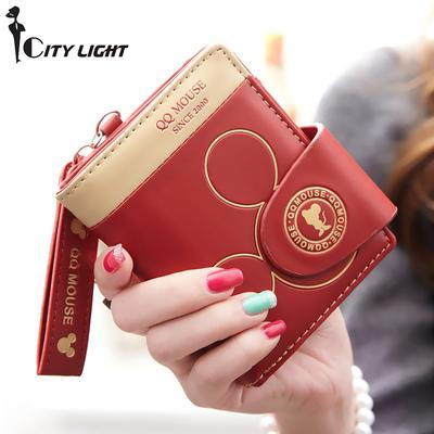 Mignon Portefeuille et porte-carte Mickey Mouse forme cou lanière pour femmes Coin sac