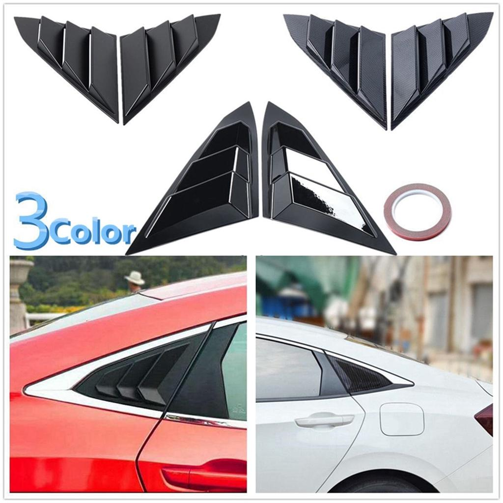 Rear Quarter Side Window Louvers Scoops Spoiler Air Vent Shades Panel for Honda 10TH Civic Sedan 2016 2017 2018 2019 ABS Stickers 3 Vents Style 2 pcs//set Carbon Fiber Color//Black