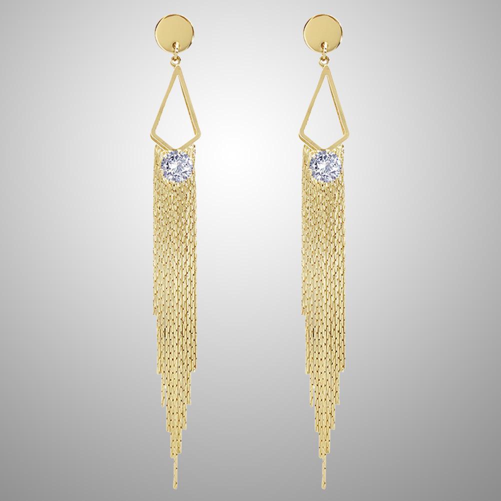 aa07fa4f7ea6 1 par aretes oro largo moda elegante cristal Pendientes de borla ...