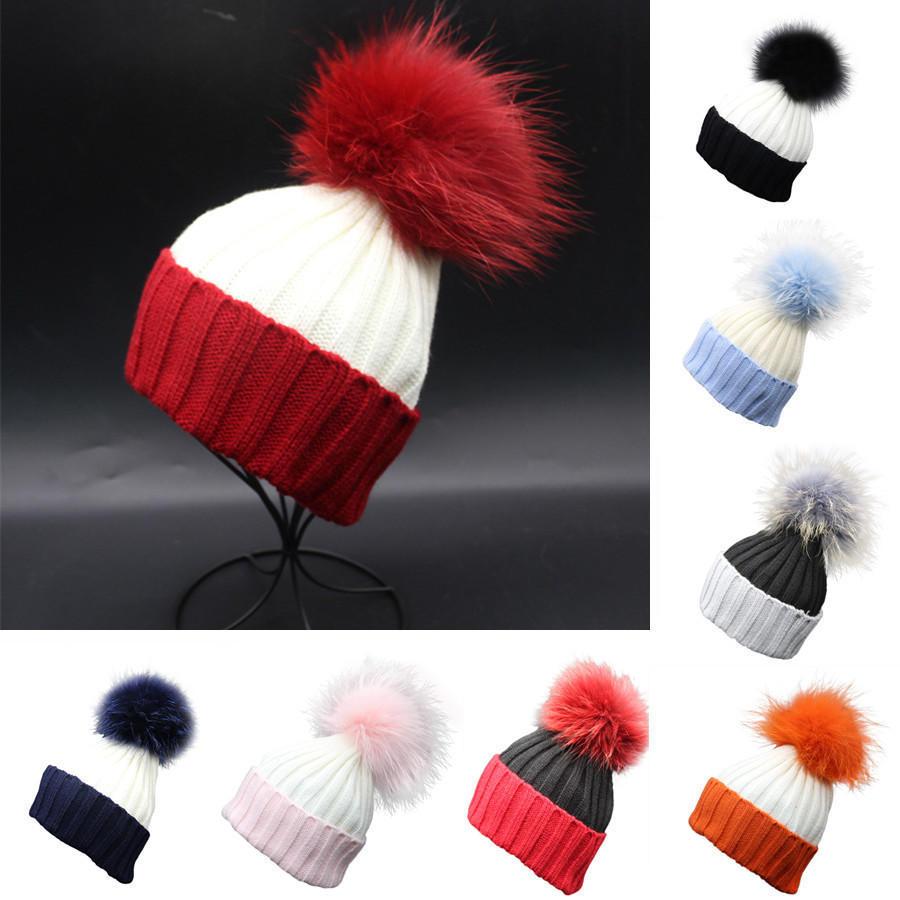 Women Crochet Hat Fur Wool Knit Beanie Raccoon Warm Cap-buy at a low ... 620fd9a76001