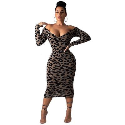 Women Casual Sundress Turtleneck Short Sleeve Snake Leopard Print Midi Bodycon Sheath Dress