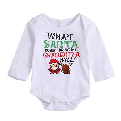 Infant Baby Boys Girls Christmas Long Sleeve Santa Print Jumpsuit Romper Outfit