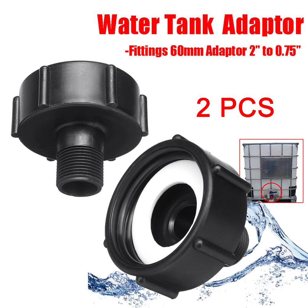 1x IBC Garden Water Tank Hose Adapter Fitting 60mm Adaptor Black Hose Connector