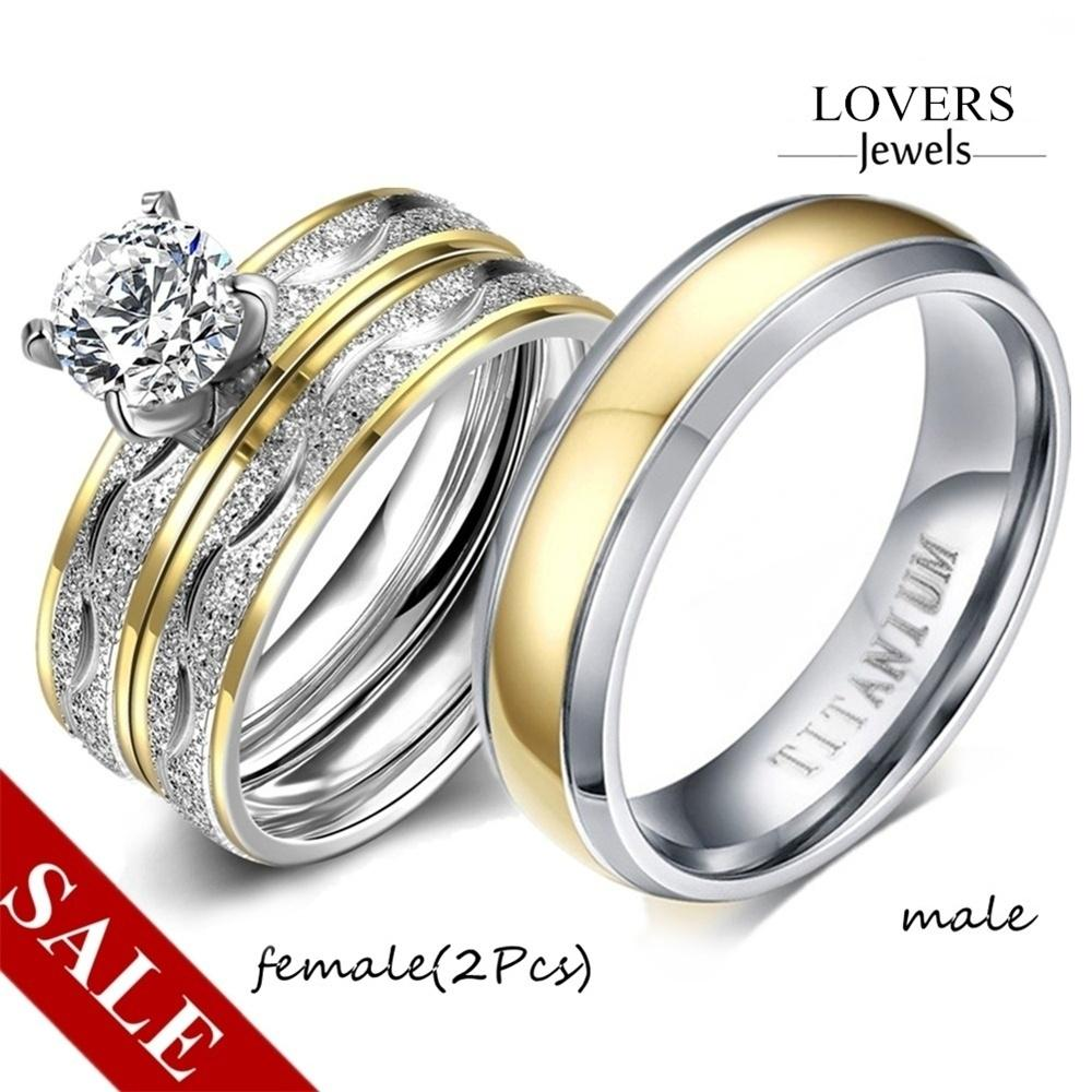 2Pcs Womens Mens CZ Silver Plated Wedding Band Ring Engagement Rings Size 5-9