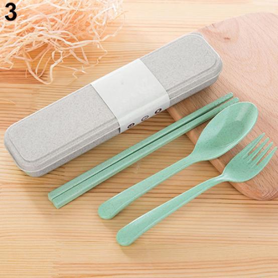 Portable Chopsticks Box Fork Spoons Storage Case Wheat Straw Traveling Tableware