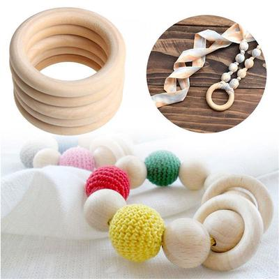 DIY 10x Wooden Beads Connectors Circles Rings Beads Lead-Free Natural Wood 55mm
