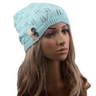 525c55a7fd85ef Damskie koronkowe guziki pozostawiają druty Knitting Hat akcesoria czapki  zimowe (zielone)