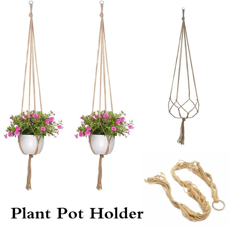 Gartenpflanze Korb Aufhänger Seilnetz für Blumentopf Hängepflanzer Dekor