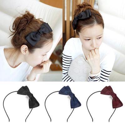 Women PU Leather Headband Solid Color Plastic Hair Hoop Hair Band Tie Headdress