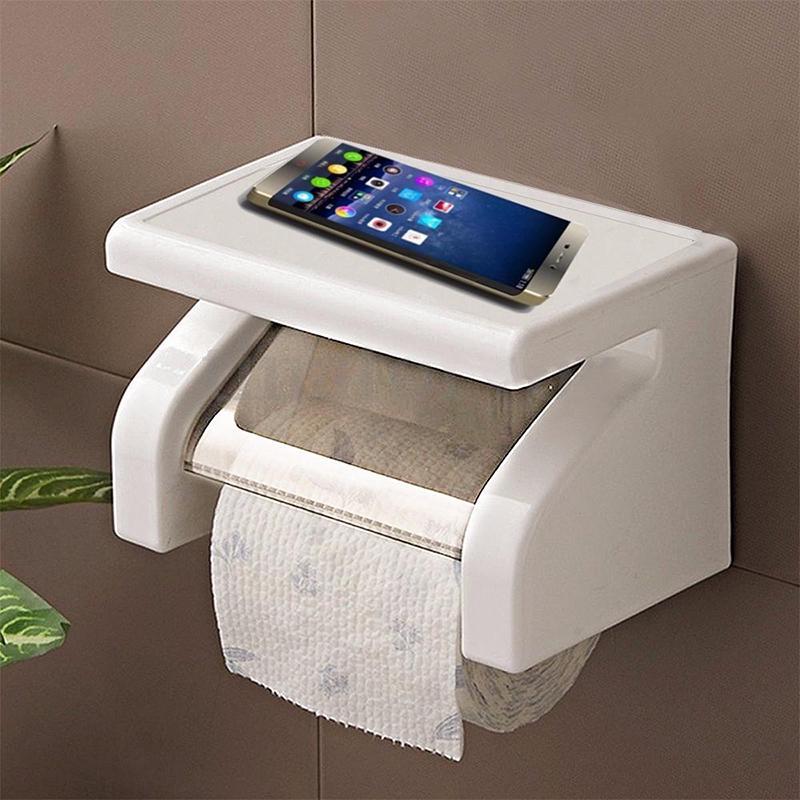 Пластиковый держатель туалетной бумаги с дополнительной полочкой фото