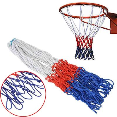 White Blue Red Standard Durable Nylon Basketball Goal Hoop Net Netting Red+White+Blue Basketball Net Outdoor Sports Accessories