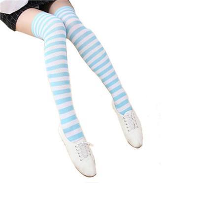 Women Socks Over Knee Light Blue Glitter Color Winter Fantastic For Party