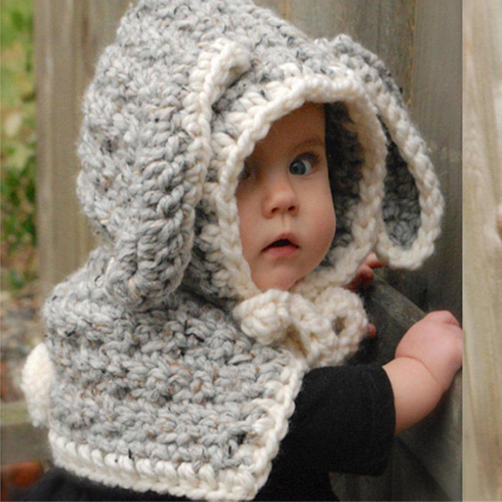 Hiver enfants enfants garçons filles Crochet chaud lapin chapeau ... cd33a5da122