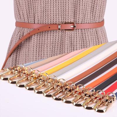Women Faux Leather Belts Candy Color Thin Skinny Waistband Adjustable Belt Women Dress Strap