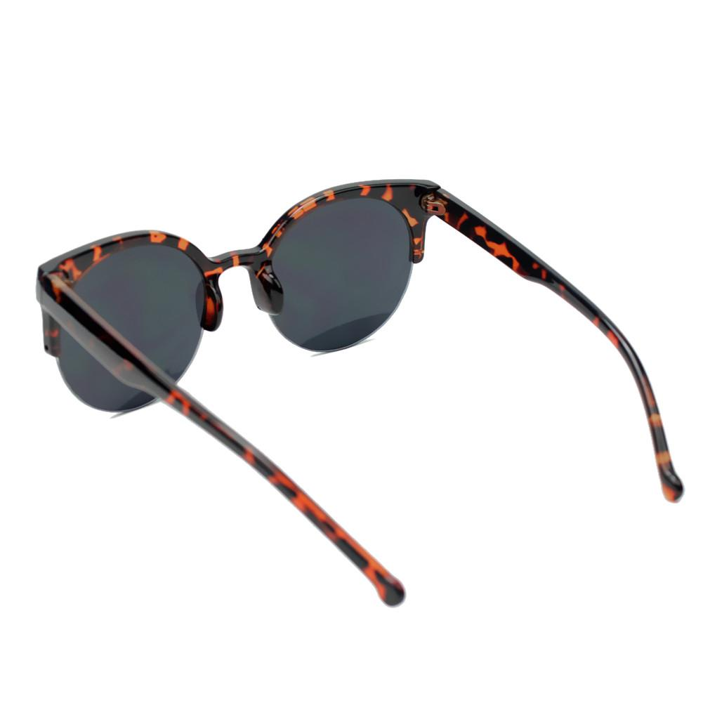 Semi-sin montura gafas de sol Femenil Vintage Retro Super redondo ...