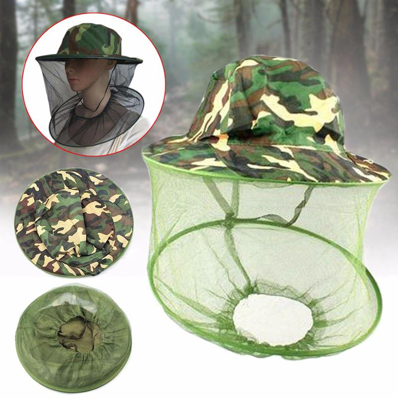 Beekeeping Tools Outdoor Anti-insect Hat Wide Brim Camouflage Mosquito Net Fishing Cap Bee Flying Insects Bucket Mesh Protector Beekeeping Tool