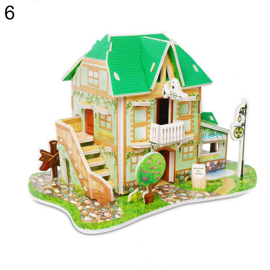 learning Castle Model 3D DIY Puzzle Cartoon House Jigsaw Assembling Paper Toy