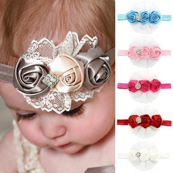 欧美儿童发带 宝宝蕾丝玫瑰花朵水钻发饰