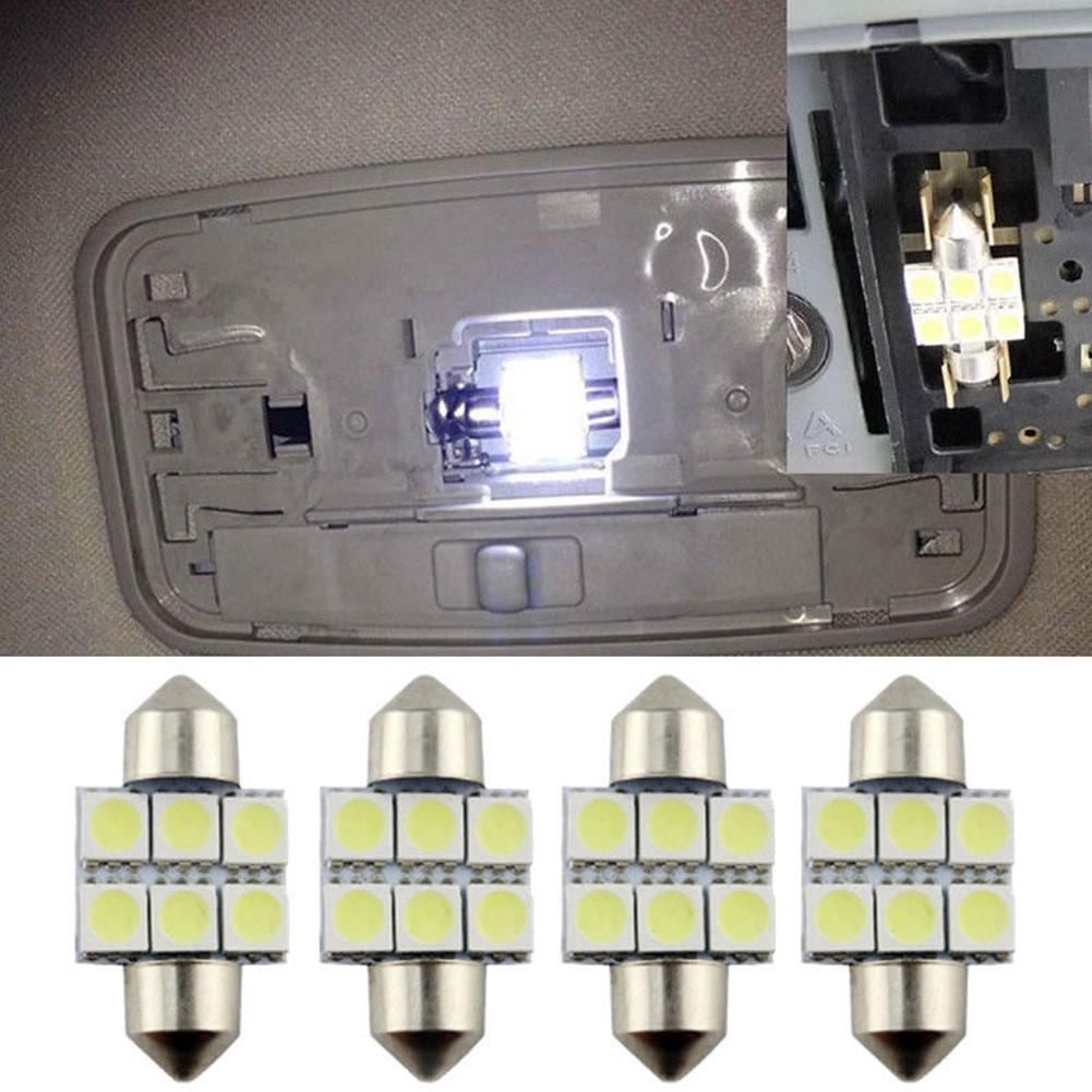 7Pcs White T10 LED Panel Light 36mm Festoon Dome Lamp Bulb Package Kit for Car