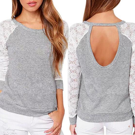 速卖通外贸爆款 春季韩版时尚长袖蕾丝拼接圆领女士卫衣 镂空T恤