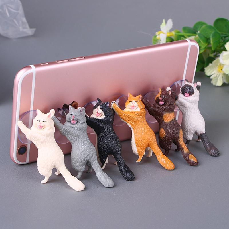 Милый кот телефон владельца автомобиля мобильный телефон кронштейн практических удобный портативный телефон аксессуар