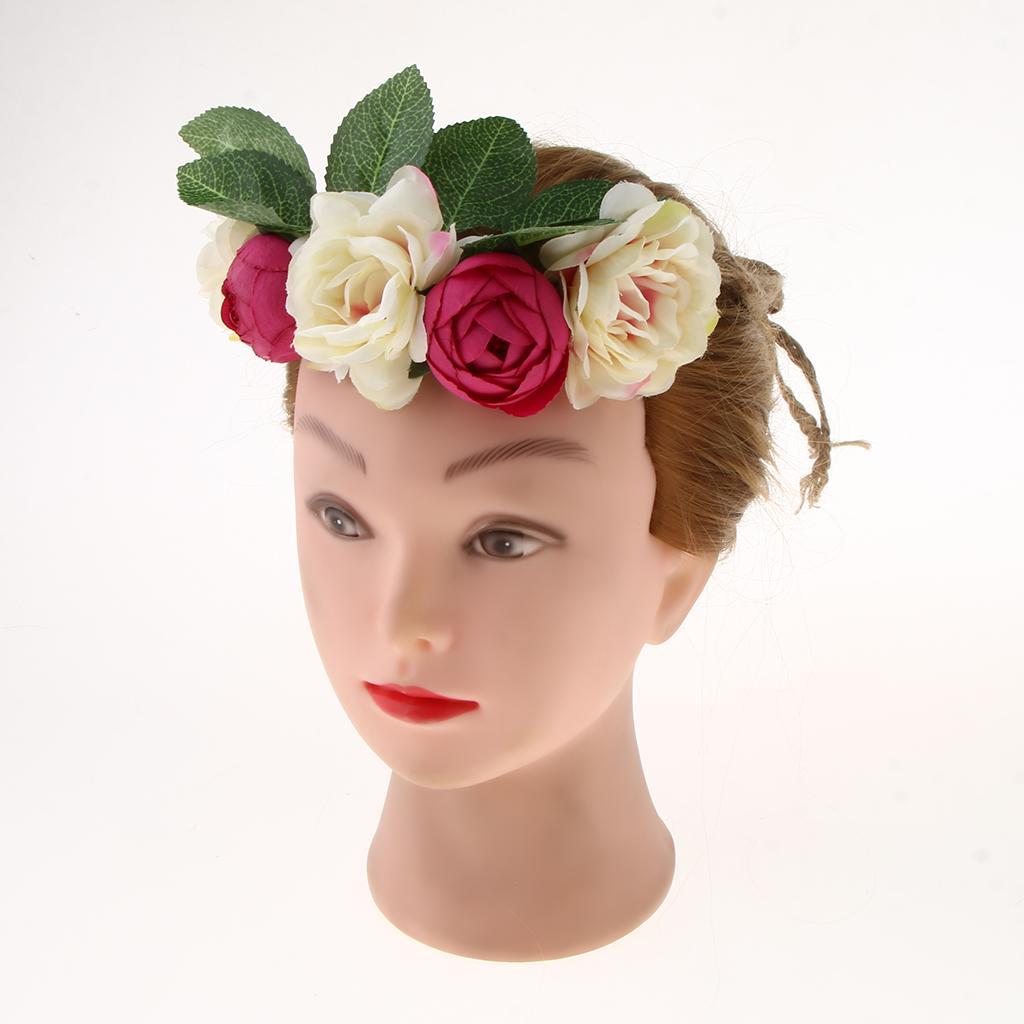 Women Lady Bride Fairy Rose Flower Wedding hair band elastic headband Fascinator