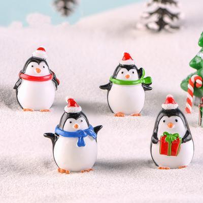Cute Christmas Penguin Figurine Model Garden Fairy Ornament Resin DIY Accessories Home Decoration