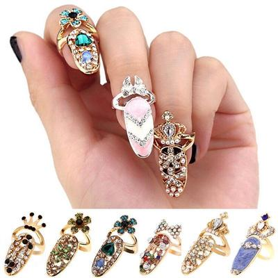 Nail Finger Ring Crown Crystal Finger Nail Art Ring Jewelry
