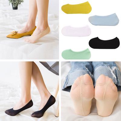 Fashion Antiskid Show Non-Slip Low Cut Boat Socks Lace Invisible Silicone