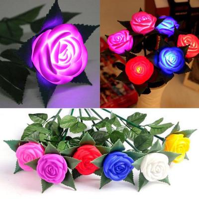 Rose LED Lamp Flower Night Lights Yard Outdoor Garden Path