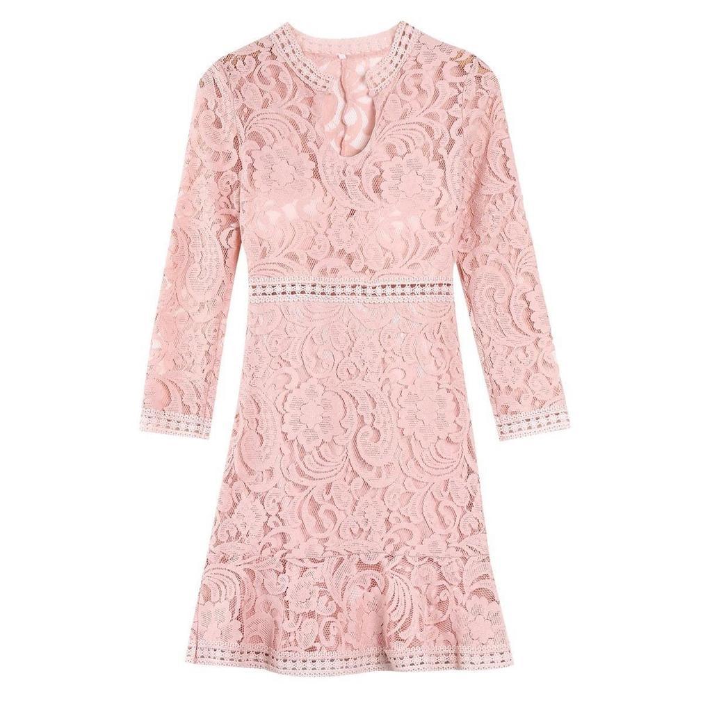 Primavera otoño mujer Bodycon vestidos encaje elegante vestido ...