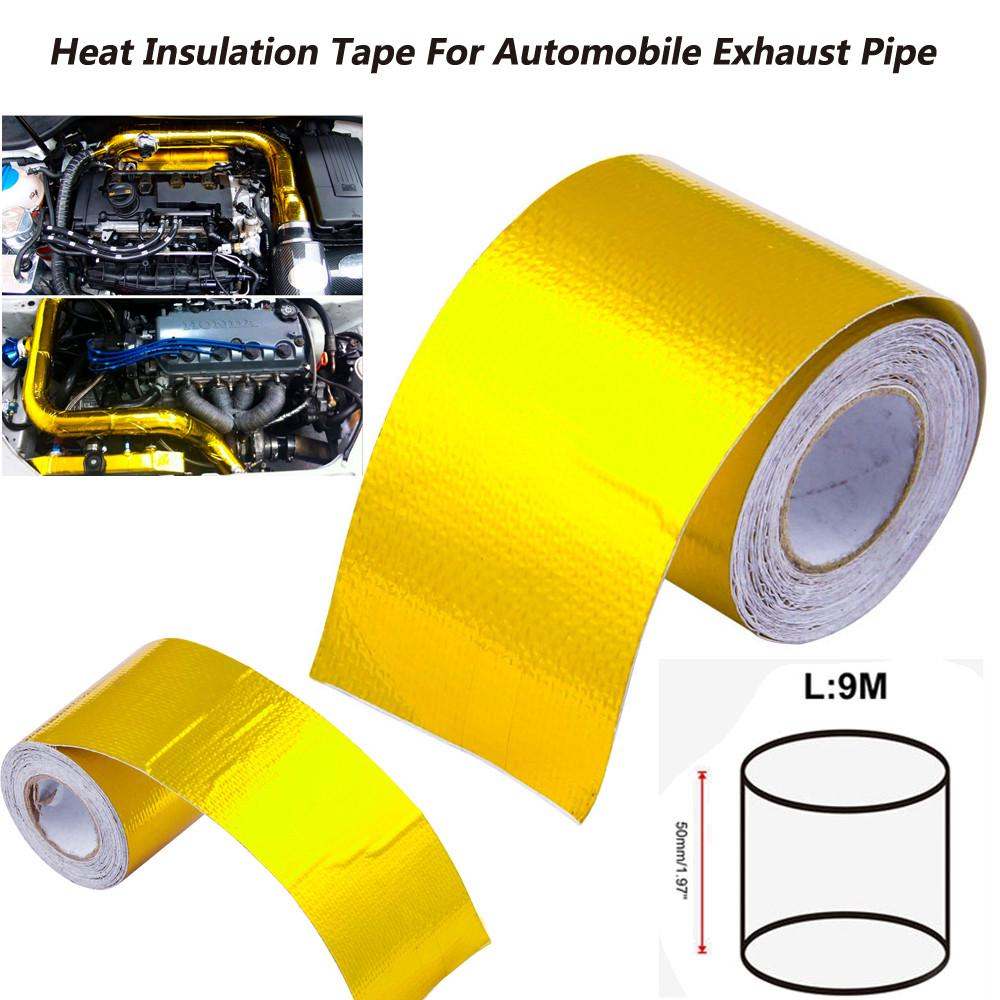 5cm x 10m Black Heat Exhaust Pipe Wrap Tape Thermo Bandage for Motocycle Car