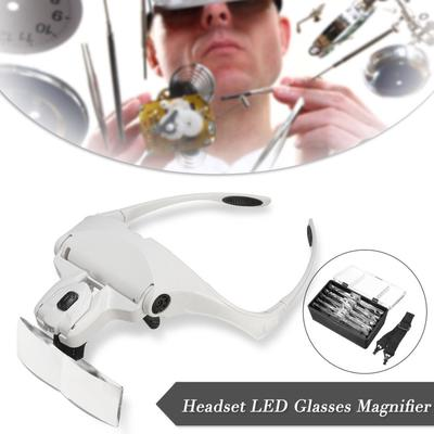 Manyi Headset Headband Magnifier 1X-3.5X Magnifying Glass Loupe Glasses With LED Light