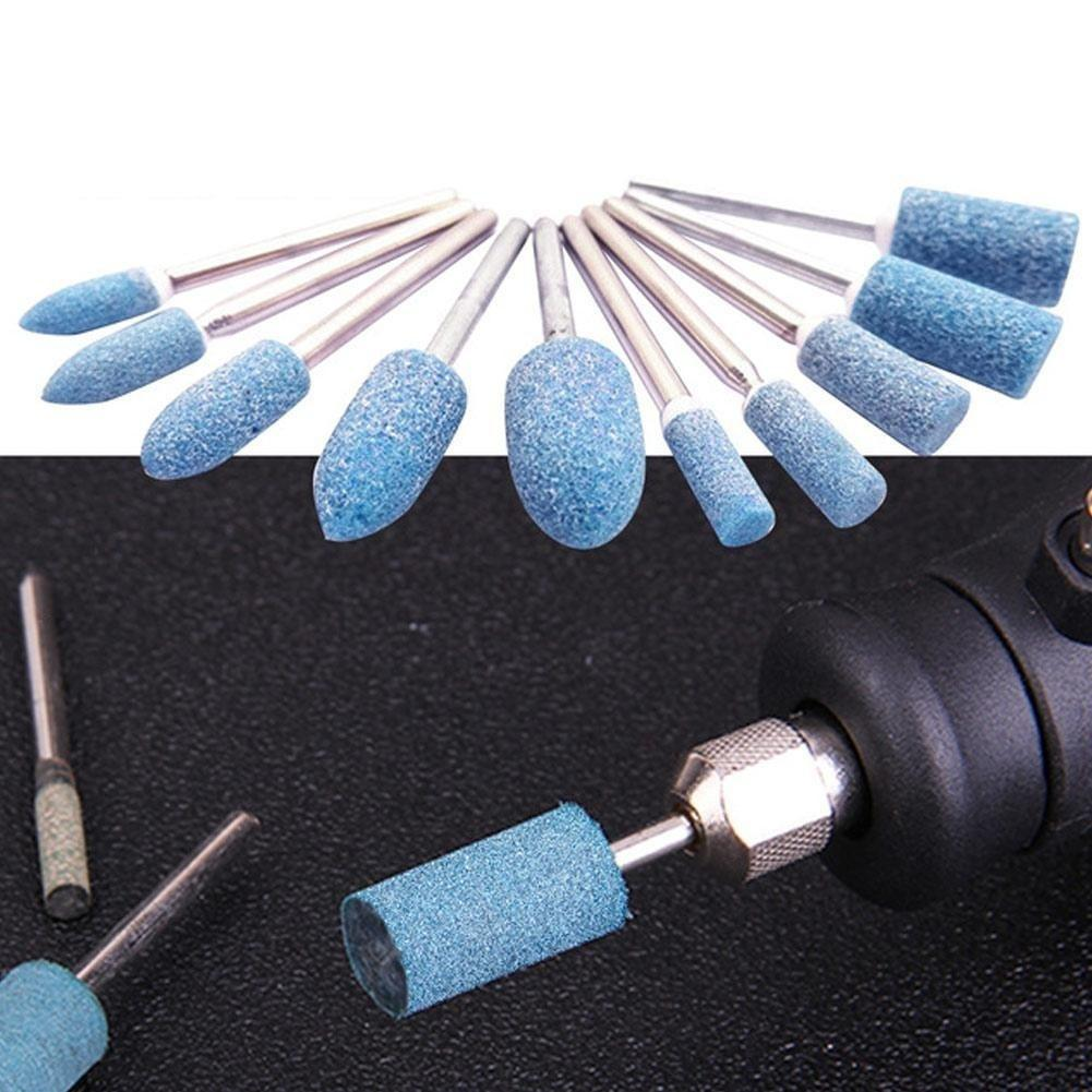 10Pc Ceramic Grinding Head Tool  Electric Drill Bits Set Durable Polishing Tool