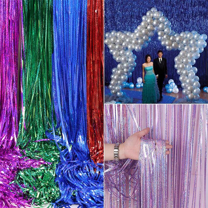2.5M Party Backdrop Background Rain Curtain Glitter Foil Tinsel Birthday Wedding
